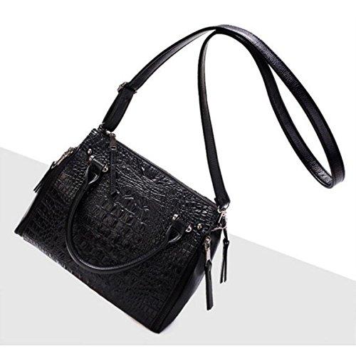 Dame Krokodilmuster Beutel Art Und Weise Schulterbeutel Diagonales Paket Handtasche Beiläufig Mappe Black
