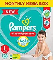 Pampers All round Protection Pants, Large size baby diapers (LG), 128 Count, Anti Rash diapers, Lotion with Al