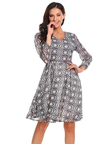 Beyove Damen Chiffonkleid Abendkleid Knielang 50s Vintage Langarm Kleid Mit Polka Dots Blumenkleid Cocktailkleid Partykleid Winterkleid Blau