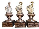 3er-Serie Sport-Pokale (1, 2, 3 goldfarben/fest verschraubt) mit Wunschgravur/Wunschemblem und 3 Sticker (Anstecknadeln). Für über 50 Sportarten verfügbar. (American Football, Angeln, Badminton, Baseball, Basketball, Billard, Boule (Petanque), Bowling, Boxen, Dart, Eishockey, Eiskunstlauf, Eisschnelllauf, Eisstock, Fechten, Feuerwehr, Fussball, Tischfussball, Gewichtheben, Go-Kart, Golf, Gymnastik, Handball, Feldhockey, Hundesport, Judo, Ju-Jutsu, Kaninchenzucht, Karate, Katzenzucht, Kegeln, Leichtathletik, Minigolf, Motorsport, Mountainbike, Musik, Oldtimer (Motorrad), Oldtimer (Auto), Radsport, Reiten, Rhönrad, Ringen, Rodeln, Rudern, Schach, Schützen, Schwimmen, Segeln, Skat, Ski (Abfahrt, Langlauf, Slalom, Biathlon, Kombination, Skispringen), Snowboard, Squash, Surfen, Tanzen, Taubenzucht, Tennis, Tischtennis, Traktor (Lanz), Turnen, Volkslauf, Volleyball, Wandern, Wasserball, Würfeln).