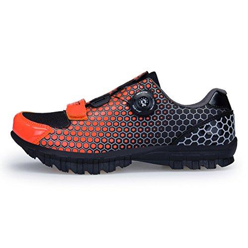 GOMNEAR Chaussures de Vélo Biking Mountain Baskets Respirantes avec Panneaux de Maille Orange noir