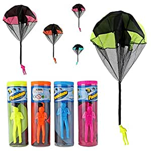 4 Pack Hand Throwing Parachute Men Toy Set Seprovider Tangle Free Flying Flight Creative Toys Multi-colour for Boys Girls Kids Adults