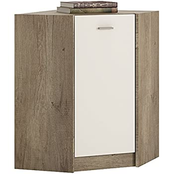 Furniture To Go 4 YOU Corner Cabinet With Melamine, 61 X 86 X 61 Cm, Canyon  Grey/ Pearl White