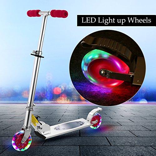 WeSkate Scooter Kinder Roller Tretroller Cityroller Kick Scooter klappbar mit LED big Wheel Kugellager ABEC 7 für Mädchen Kinder ab 3 Jahre (B2/rosa)