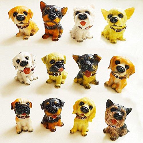 12Puppy Pet Mini Ornament Figur Hund Kunstharz Statue Detaillierte zum Sammeln Geschenk-Box (House Ornament Dog)