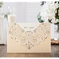 Wishmade taglio Laser in oro Flora e inviti di matrimonio in pizzo con strass con invito e di ringraziamento cw6115 Gold