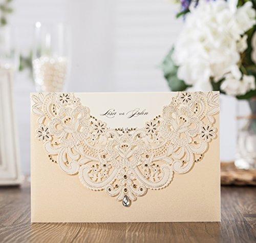 Wishmade taglio Laser in oro Flora e inviti di matrimonio in pizzo con strass con invito e di ringraziamento cw6115 Gold - Greeting Laser Cards