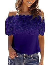 Mujer Blusa,Sonnena ❤ ❤ Sexy off hombro impresión hueca de encaje blusa sin manga con tirantes para elegante mujer casual moda…