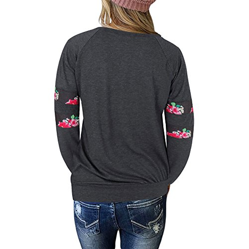Femmes Basic Plaid Blouse - hibote Dames Vintage Col Rond Pull Casual Chemise à Manches Longues Mince Tops Jumper Élégant T-shirts Tunique Plaid / Broderie / Solide Couleur Broderie - Noir