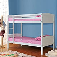 UEnjoy White Solid Pine Wood 2×3FT Single Size Bunk Bed Frame Bedroom Furniture for Kids Childrens Adults