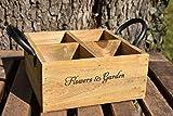 Dekobox mit Metallgriffen Holz 4 Fächer 16x16x7cm braun natur Shabby Vintage