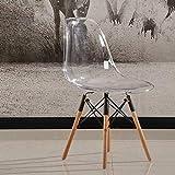 QiXian Silla Transparente Silla de Comedor de Moda Nórdica Silla de Plástico Simple Silla de Café para Pc Informal Y Creativa, Blanco, 40 * 46.5 * 81.5cm