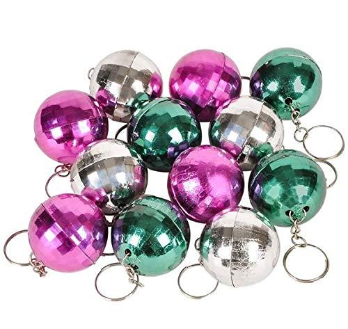 Lot of 12 Disco Ball Key Chain Mirror Reflection Asst