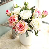 Artificial Flowers, Fake Flowers Silk 9 Heads Roses Bouquets Gifts Wedding Party Kitchen Home Decor