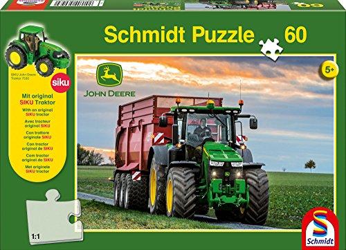 Schmidt Spiele- Puzzle John deere-8370R Tracteur 60 Pièces avec Siku Tractor, 56043