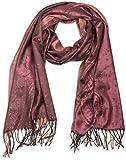 styleBREAKER edler Schal mit Blumen, Paisley, Ornament Muster und Fransen, Damen 01018095, Farbe:Rose-Braun