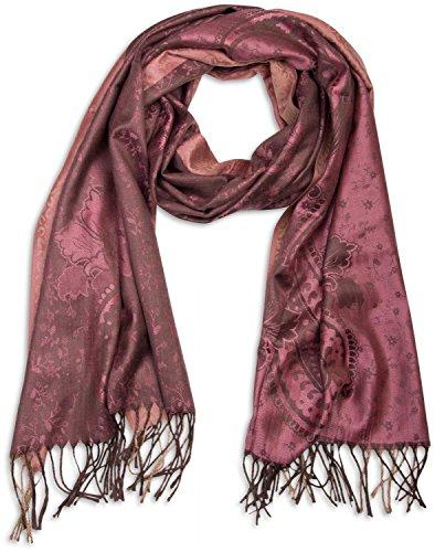 styleBREAKER edler Schal mit Blumen, Paisley, Ornament Muster und Fransen, Damen 01018095, Farbe:Rose-Braun (Braun Paisley)
