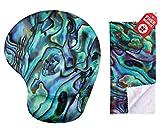 Tappetino per mouse verde Abalone Seashell Design ergonomico con supporto per il polso. Poggia mani gel. Panno per pulizia in microfibra coordinato. Mouse Pad per laptop, PC Computer e Mac
