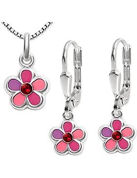 CLEVER SCHMUCK-SET Silberne Ohrhänger Blume rosa pink mit roten Zirkonia und passender Anhänger STERLING SILBER...