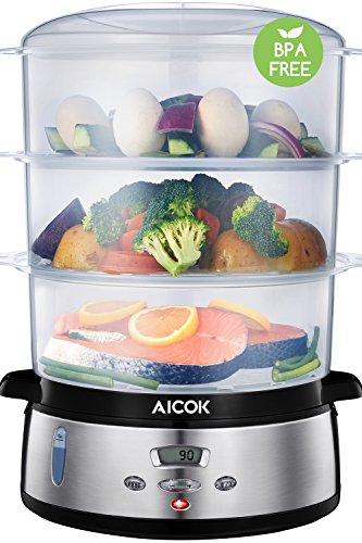 Aicok Digitaler Dampfgarer mit LCD Timer, Aromaverstärker, 3-Etagen Stapelkörbe (9L, 800W, BPA...