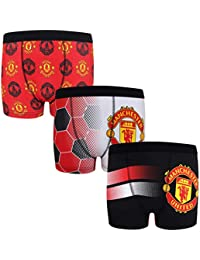 7506d479441 Manchester United FC Official Football Gift 3 Pack Boys Crest Boxer Shorts