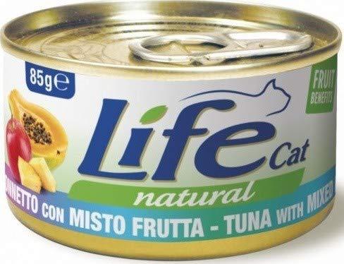 Lifecat Natural per Gatto in Scatoletta da 85 Gr, Tonnetto e Misto Frutta