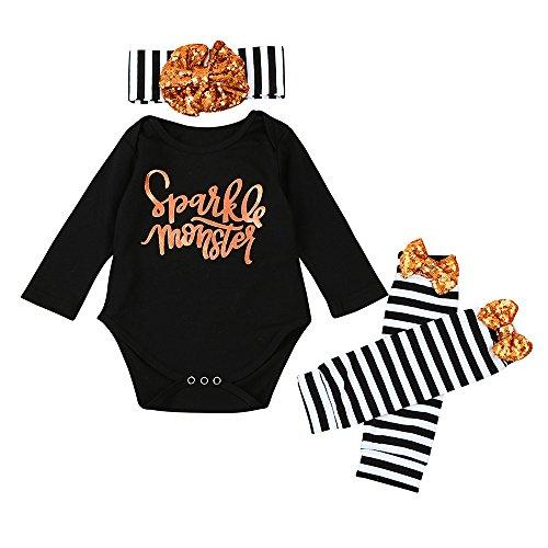 Weant Halloween Kostüm Baby Jungen Mädchen Neugeborenen Bodysuit Halloween Costume Letter Spielanzug Tops + Beinwärmer Outfit (12-18 monate, Schwarz) (Beanie Baby Kostüm Halloween)