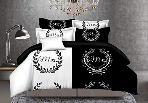 Biancheria da letto Coppia copripiumino bianco e nero Copripiumino Copripiumino Federa da letto per bambini adulti Genitori come regalo,Mr&Mrs,200cmx200cm+2x50cmx70cm