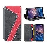 MOBESV Smiley Nokia 7 Plus Hülle Leder, Nokia 7 Plus Tasche Lederhülle/Wallet Case/Ledertasche Handyhülle/Schutzhülle mit Kartenfach für Nokia 7 Plus, Schwarz/Rot
