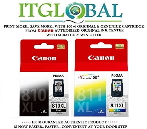 Canon Combo Ink Cartridge Black & Color ( PG 810 XL & CL 811 XL ) [Set of 2 Cartridge] -Special ITGLOBAL Combo With Scratch & Win Offer 810xl 811xl  available at amazon for Rs.3964