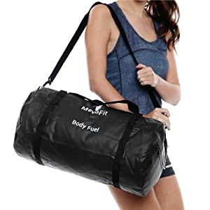 MevoFit (USA) BODY FUEL - 'Go Everywhere' Gym Traveller Duffle Bag : GYM | TRAVEL | SPORTS | OUTDOOR for Men & Women - POLYPROPYLENE WATER PROOF BIG with Dry Pockets for Mobile & Accessories - Dry Rugged Bag Lustrous (BLACK) by MevoFit