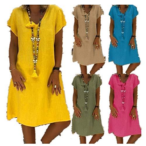 Sommerkleid Sommerkleider Damen Mode Plus GrößEn-BeiläUfiger V-Ausschnitt GetäFelten Druck-Kurzarmkleid LäSsige Party Minikleid Bluse Cocktailkleid Elegant Kleider Abendkleid äRmellos Spitzenkleid