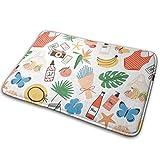 Klotr Tapis De Bain, Summer Attributes Non-Slip Memory Foam Bath Mat Absorbent Super Cozy Velvet Bathroom Rug Carpet