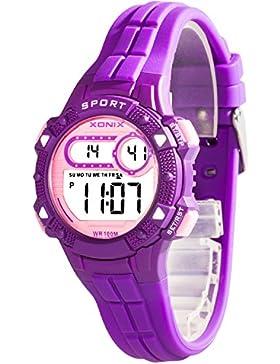 Armbanduhr digital XONIX Damen Kinder viele Funktionen WR100m, A5K67F3/4