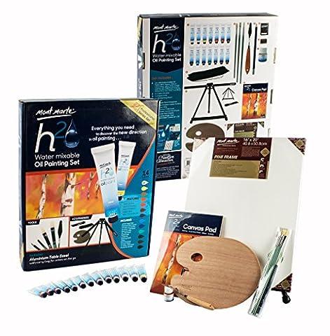 Mont Marte Premium Miscibles à l'eau H2O Peinture à l'huile Newly 27pce avec 14tubes de peintures à l'huile soluble–Peinture de haute qualité Media–Un Idéal d'artiste Ensemble composé du Chevalet, pinceaux, peintures et de nombreux autres accessoires