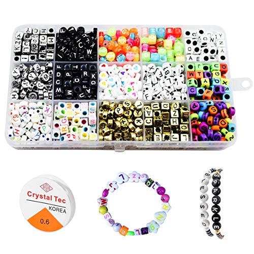 Niños bricolaje conjunto de cuentas 1100pcs DIY Cuentas Kits de Perlas pulseras collares, cuentas para la fabricación de joyas para niños collar, kit de fabricación de cuentas como kit de regalo