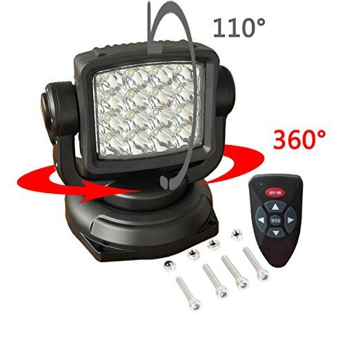 Lightronic LED Arbeitsleuchte 80W 10V-30V Suchscheinwerfer Funkfernsteuerbar mit Magnetfuß Suchlicht CREE Chip 360 Grad Drehbar für Auto Offroad Jagd Boot Garden