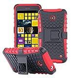 ECENCE Handyhülle Schutzhülle Outdoor Case Cover + Panzerfolie kompatibel für Nokia Lumia 630/630 Dual SIM / 635 Handytasche Rot 43020405