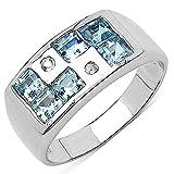 Silvancé - Damen Ring - 925 Silber, rhodiniert - echter Edelstein: Blautopas ca. 1.09ct. - R227BTWT_SSR / Gr. 57 (18.1)