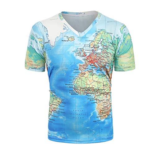 Beutel Bin Kostüm - TWISFER Unisex T-Shirt Sommer 3D Karte Drucken V-Ausschnitt Tops Casual Beiläufige Grafik Kurzarm Tops Tee XS-XXL