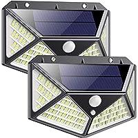 QTshine Lampe Solaire Extérieur 162 LED 2 Pack [Dernière Version Verte 2200mAh] Détecteur de Mouvement Éclairage Solaire Extérieur Sans Fil étanche Spot Lumière Solaire Puissante Sécurité pour Jardin