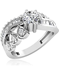 IskiUski For Engagement 14Kt Swarovski Crystal Platinum Ring Platinum Plated For Women