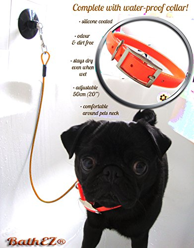 BathEz Dog Durable Bathing Cable Tub Restraint with Top Performance Strong Suction Cup and Collar 3