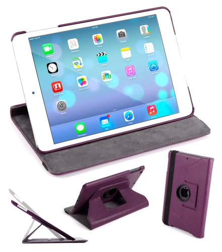 DURAGADGET Housse Etui Rotatif 360° aspect cuir violet pour Apple iPad Air tablette 9,7″ (sortie 2013) écran Retina Wi-Fi + 4G LTE 64 bits – vue horizontale ET verticale + stylet 2 en 1 en rouge – Garantie 5 ans