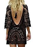 EDOTON Costumi Interi da Bagno per Donna, Costume da Bagno Bikini in Crochet con Pizzo Aperto (Nero)