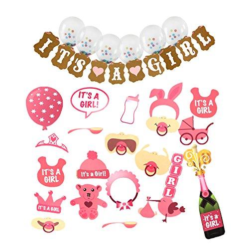 "rty kleiner Junge Geburtstagsfeier Dekorationen 27 STÜCKE Fotostand-Requisiten +1 STÜCKE ""IT'S A GIRL"" Banner+6 Stück Ballons (Teddybär-baby-dusche)"