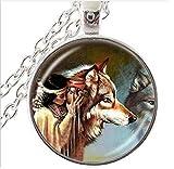 Frau mit Wolf Foto-Halskette, Tier Schmuck, Glas Dome Anhänger, Halskette, Geschenke