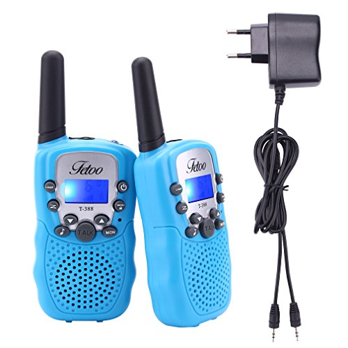 funkgeraete fuer kinder Fetoo Walkie Talkie für Kinder PMR446 mit Akkus Ladekabel 0,5W 8 Kanäle Vox Taschenlampe Funkgeräte (2er-Set, Blau)
