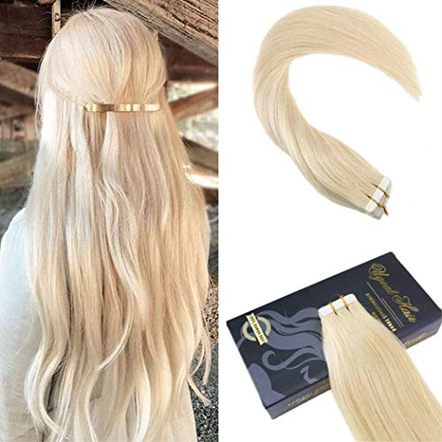 Ugeat 24 pollici tape in remy hair extensions #613 bleach bionda pu weft extension capelli 50g veri rosso