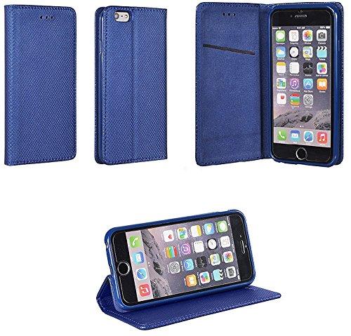 Bralexx Bookstyle-Tasche mit Standfunktion, Kartenfach, integrierter Magnetverschluss, Karo-Design (iPhone 4 / 4S, Blau)